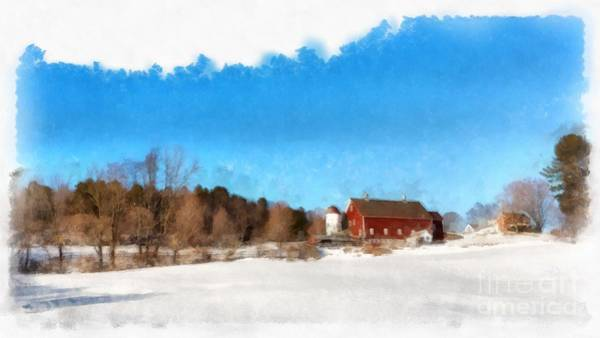 Barn Snow Painting - New England Farm Winter South Woodstock Vermont by Edward Fielding