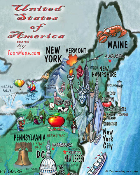Digital Art - New England Fun Map by Kevin Middleton