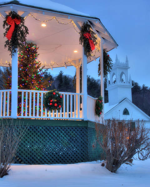 Photograph - New England Gazebo And White Church In Winter - Washington Nh by Joann Vitali