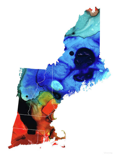Wall Art - Painting - New England - Map By Sharon Cummings by Sharon Cummings