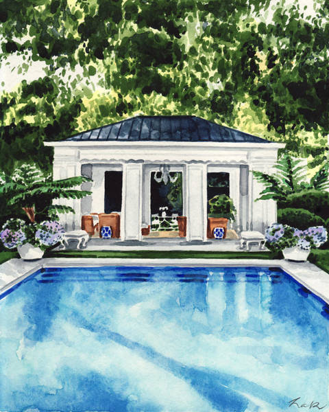 Slate Painting - New England Pool House Swimming Pool by Laura Row