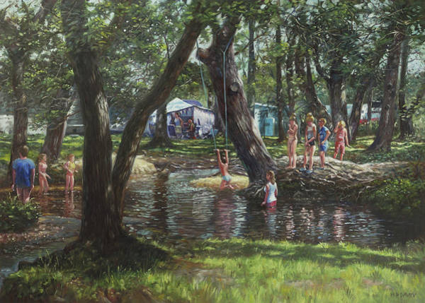 Wall Art - Painting - New Forest Camping Fun by Martin Davey