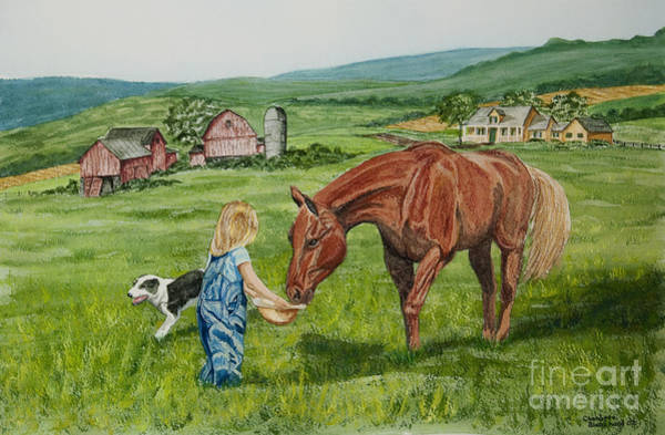 Quarter Horse Painting - New Friends by Charlotte Blanchard