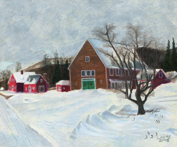 Mixed Media - New Hampshire Farm In Winter by Dominic White
