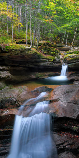 Art Print featuring the photograph New Hampshire Sabbaday Falls Panorama by Ranjay Mitra