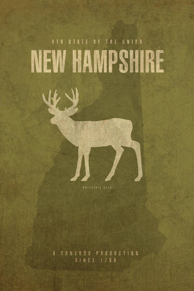Wall Art - Mixed Media - New Hampshire State Facts Minimalist Movie Poster Art by Design Turnpike