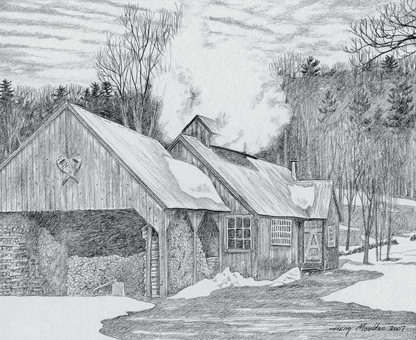 Maple Drawing - New Hampshire Sugarhouse by Harry Moulton