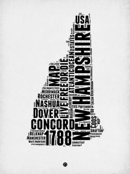 Wall Art - Digital Art - New Hampshire Word Cloud Map 2 by Naxart Studio