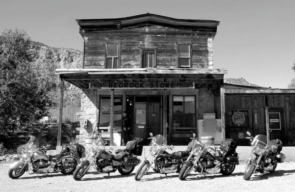 Harley Davidson Black And White Wall Art - Photograph - New Horses At Bedrock by David Lee Thompson