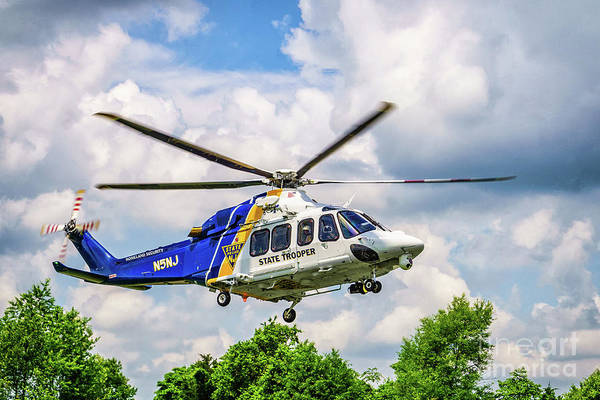 Fair Ground Photograph - New Jersey State Police Helicopter by Nick Zelinsky