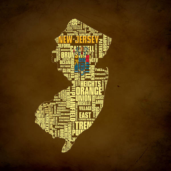 Crossroads Of The World Digital Art - New Jersey Typographic Map 01 by Brian Reaves