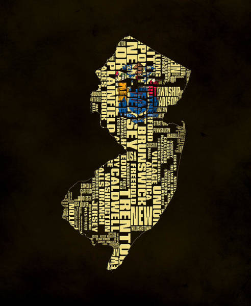 Crossroads Of The World Digital Art - New Jersey Typographic Map 02 by Brian Reaves