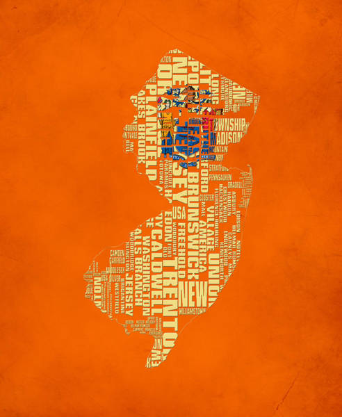Crossroads Of The World Digital Art - New Jersey Typographic Map 03 by Brian Reaves