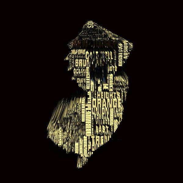 Crossroads Of The World Digital Art - New Jersey Typographic Map 4f by Brian Reaves