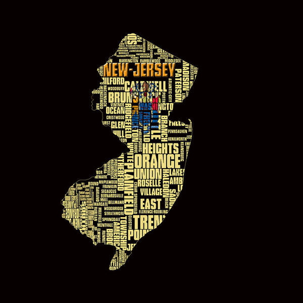 Crossroads Of The World Digital Art - New Jersey Typographic Map 4g by Brian Reaves
