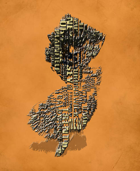 Crossroads Of The World Digital Art - New Jersey Typographic Map 4i by Brian Reaves