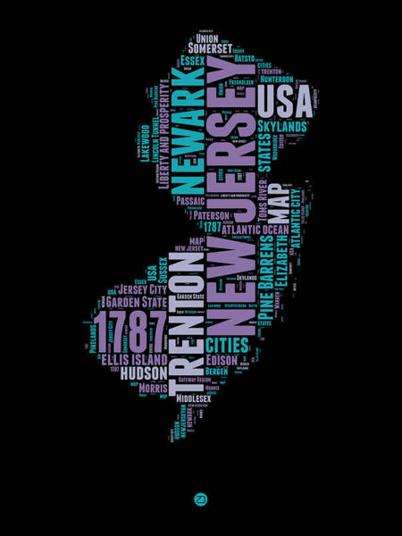 Map Art Mixed Media - New Jersey Word Cloud 1 by Naxart Studio