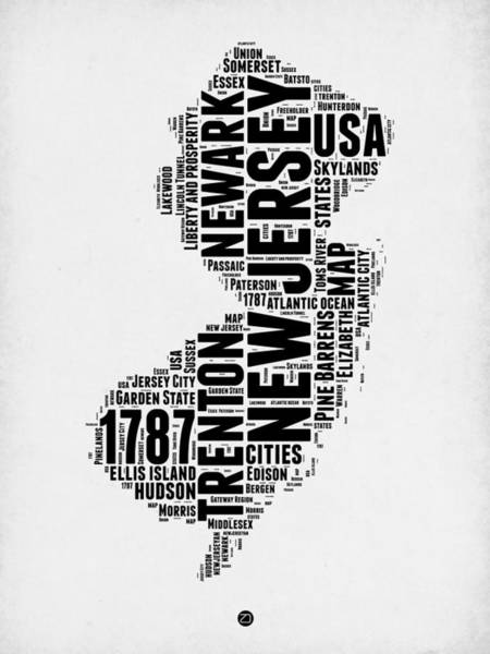 Map Art Mixed Media - New Jersey Word Cloud 2 by Naxart Studio