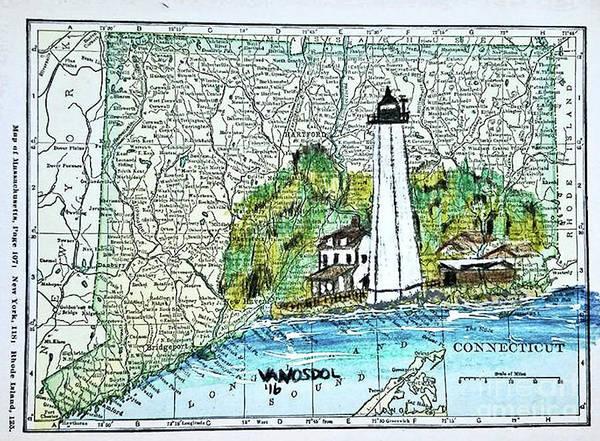Beach Grass Drawing - New London Harbor Lighthouse - Connecticut by Scott D Van Osdol