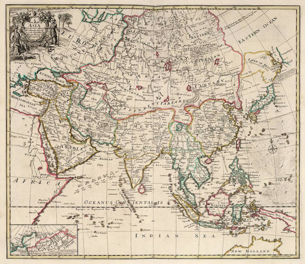 Wall Art - Painting - New Map Of Asia by John Senex