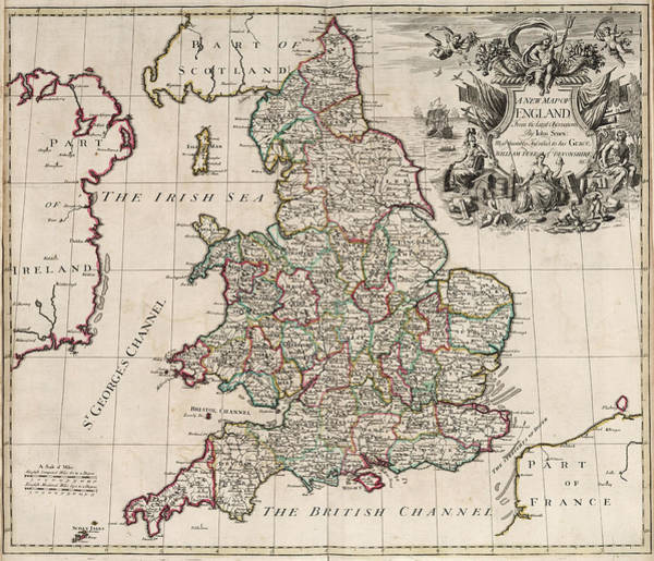 Wall Art - Painting - New Map Of England by John Senex
