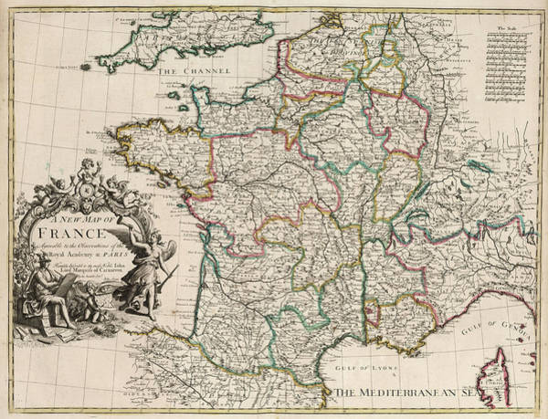 Wall Art - Painting - New Map Of France by John Senex