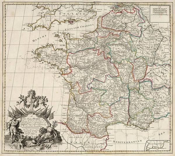 Wall Art - Painting - New Map Of France1 by John Senex