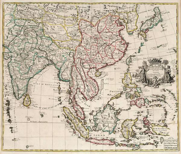 Wall Art - Painting - New Map Of India And China by John Senex