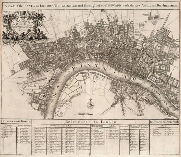Wall Art - Painting - New Map Of London by John Senex