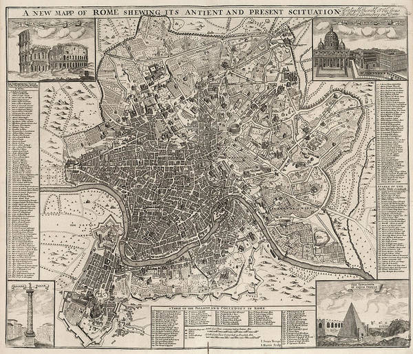 Wall Art - Painting - New Map Of Rome Showing Its Ancient And Present Situation by John Senex