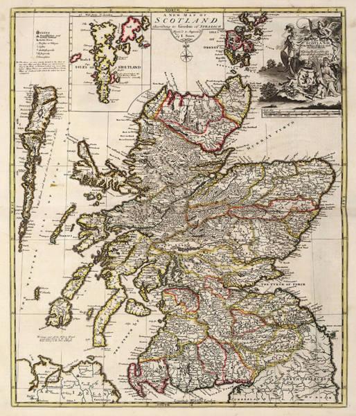 Wall Art - Painting - New Map Of Scotland by John Senex