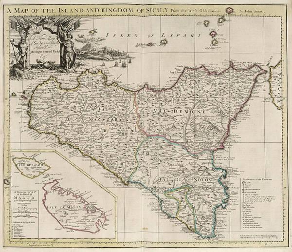 Sicily Painting - New Map Of Sicily by John Senex