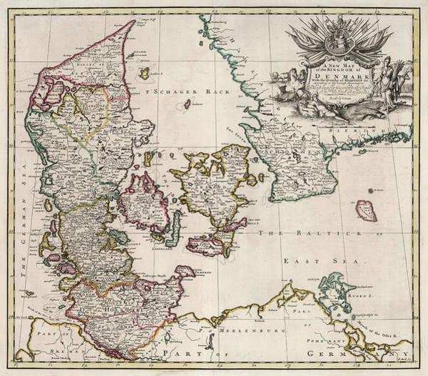 Wall Art - Painting - New Map Of The Kingdom Of Denmark by John Senex