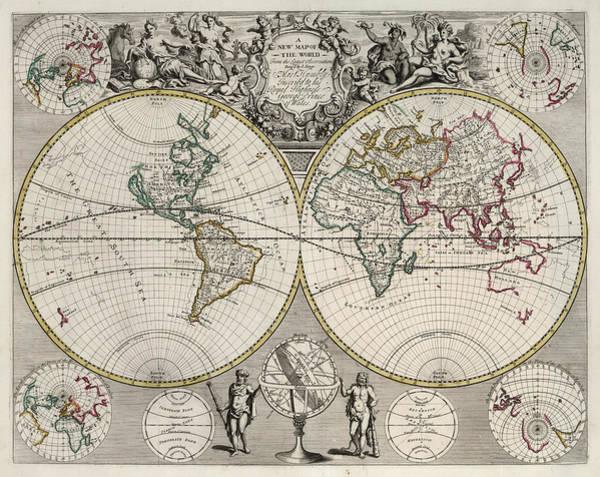 Wall Art - Painting - New Map Of The World by John Senex