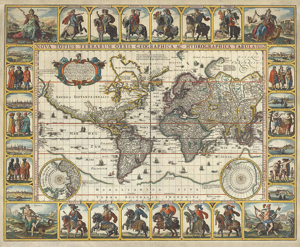 Wall Art - Painting - New Map Of The World by Nicolaes Visscher