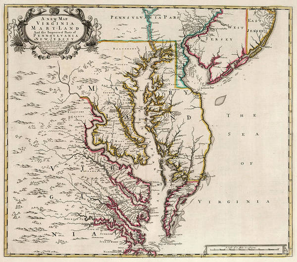 Wall Art - Painting - New Map Of Virginia And The Improved Parts Of Pennsylvania And New Jersey by John Senex