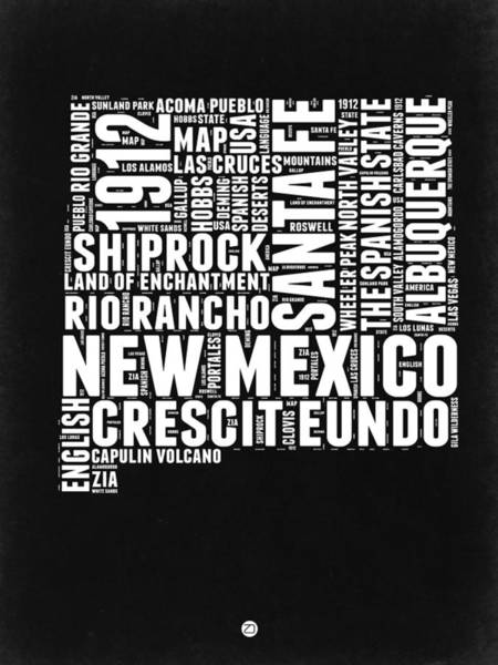 Wall Art - Digital Art - New Mexico Black And White Word Cloud Map by Naxart Studio