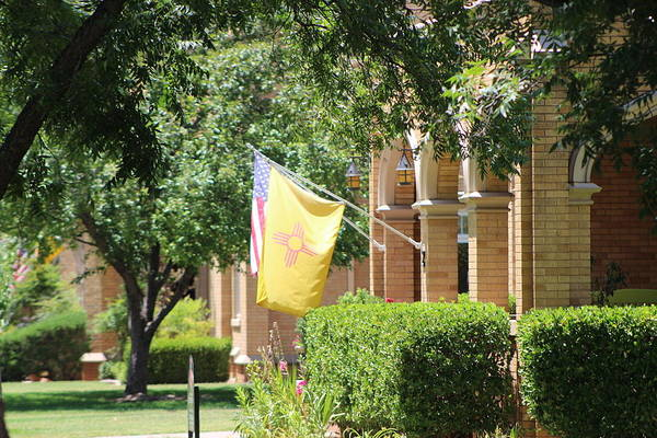 Photograph - New Mexico Flag On Porch by Colleen Cornelius