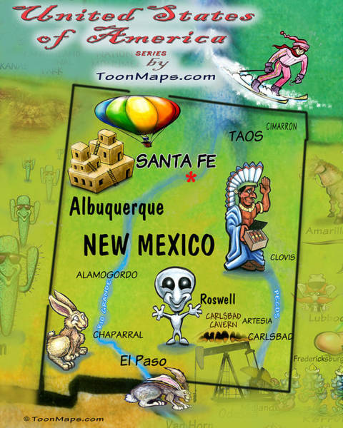 Digital Art - New Mexico Fun Map by Kevin Middleton