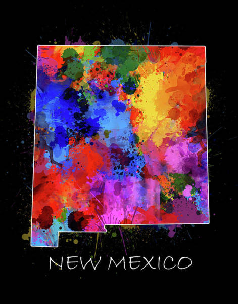 American Southwest Digital Art - New Mexico Map Color Splatter 2 by Bekim M