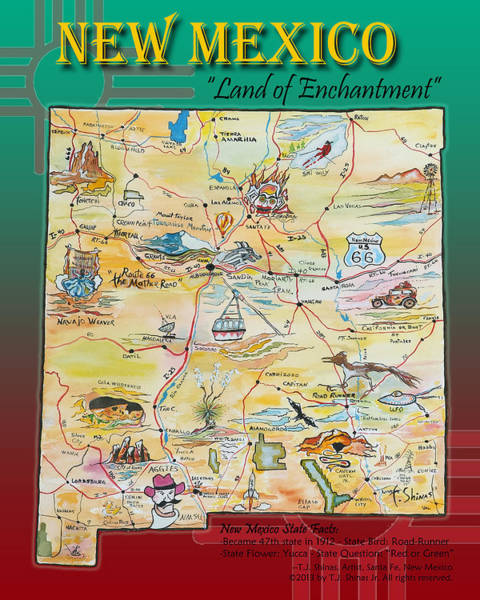 Clovis Painting - New Mexico Map Land Of Enchantment by Tom Shinas