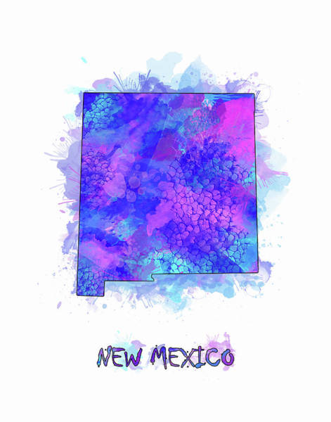 Southwest Digital Art - New Mexico Map Watercolor 2 by Bekim Art