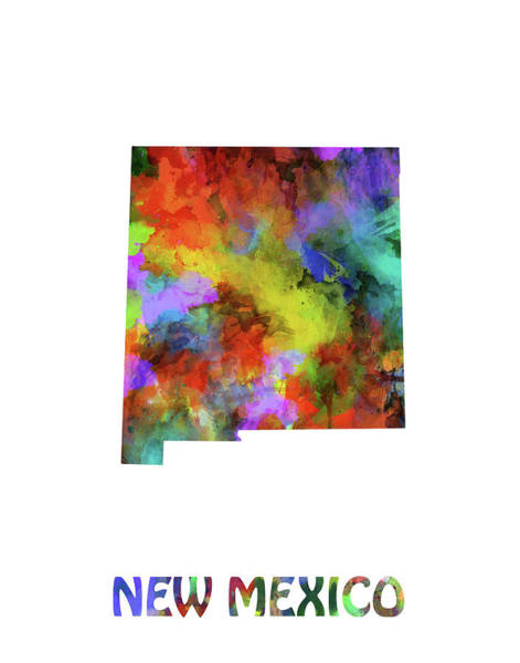 Southwest Digital Art - New Mexico Map Watercolor by Bekim Art