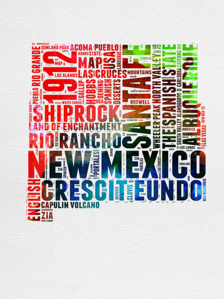 New Mexico Wall Art - Digital Art - New Mexico Watercolor Word Map by Naxart Studio