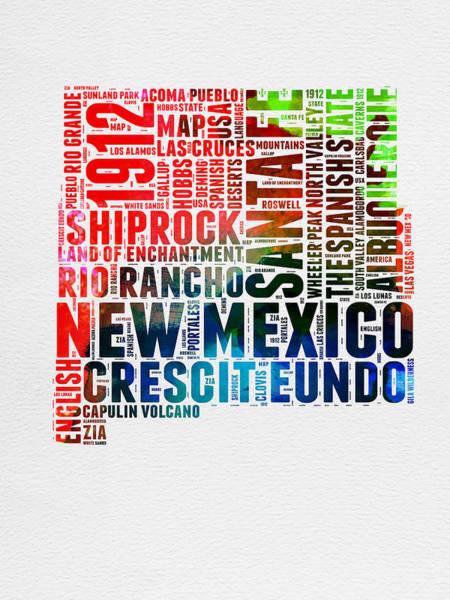 Mexico Wall Art - Digital Art - New Mexico Watercolor Word Map by Naxart Studio