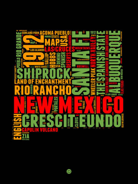 Wall Art - Digital Art - New Mexico Word Cloud Map 1 by Naxart Studio