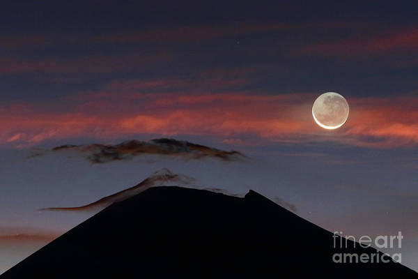 Photograph - New Moon And Parinacota Volcano by James Brunker