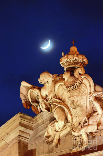 Photograph - New Moon Over The Alcala Gate Madrid by James Brunker