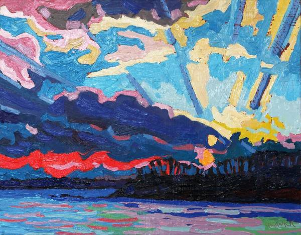Stratocumulus Painting - New Moon Sunset by Phil Chadwick
