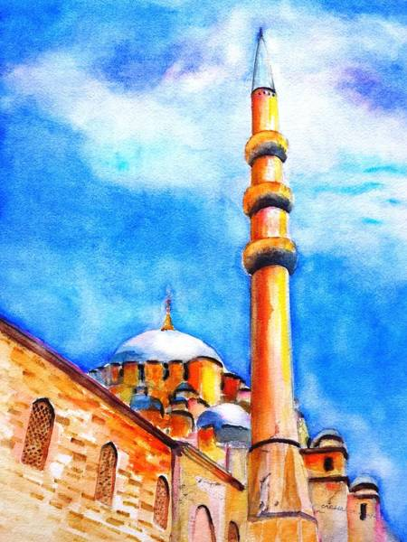 Istanbul Painting - New Mosque Istanbul by Carlin Blahnik CarlinArtWatercolor